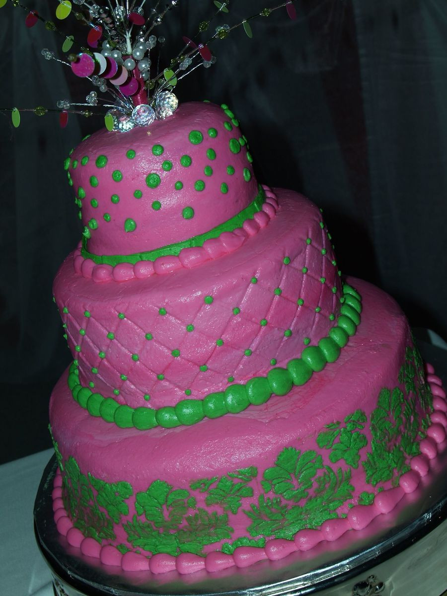 Pink And Green Wedding Cakes  Pink And Green Wedding Cake CakeCentral