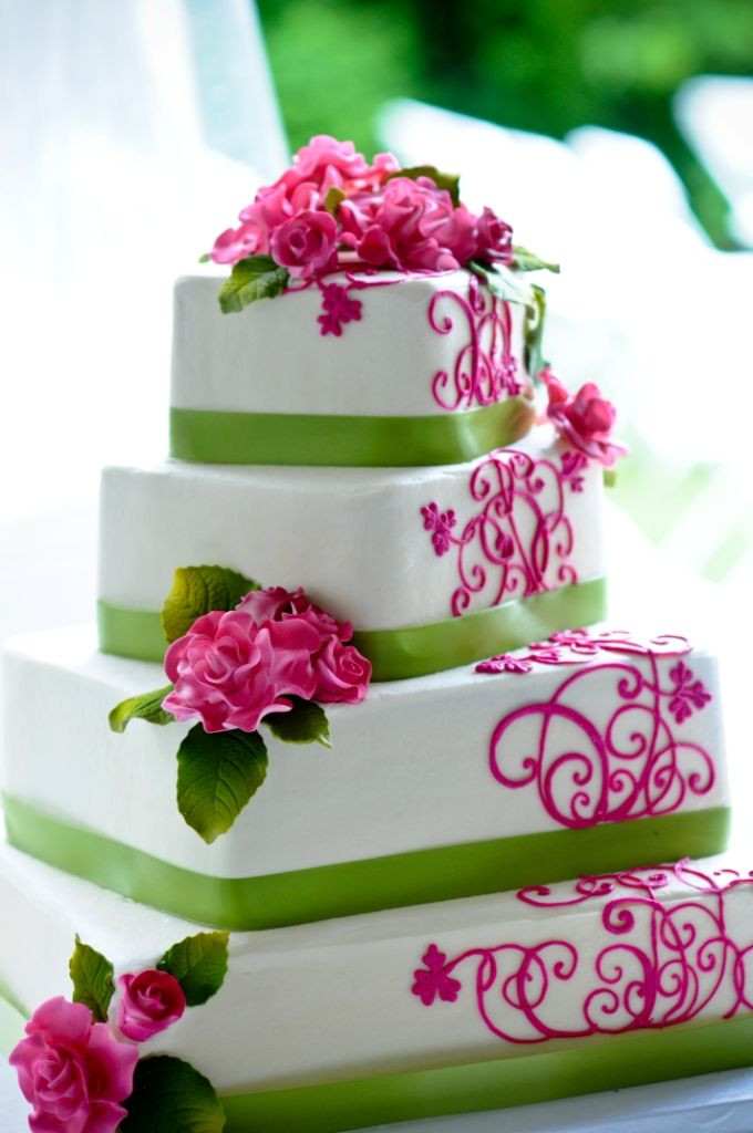Pink And Green Wedding Cakes  Pink and green wedding cakes idea in 2017