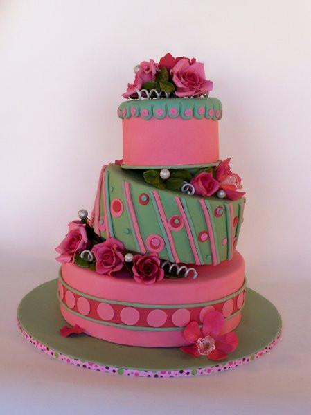 Pink And Green Wedding Cakes  wedding monogram ideas vintage disney wedding pyrple and