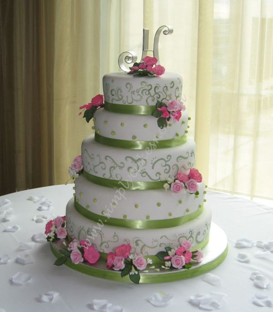 Pink And Green Wedding Cakes  Green And Pink Wedding Cake CakeCentral