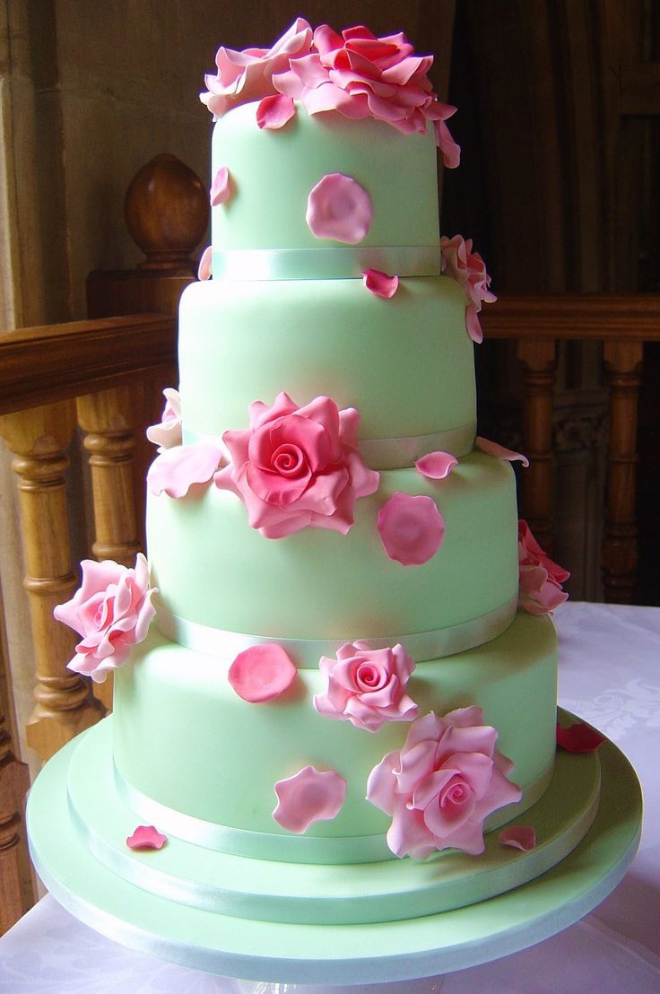 Pink And Green Wedding Cakes  Mint Hazel by Planet Cake net cake