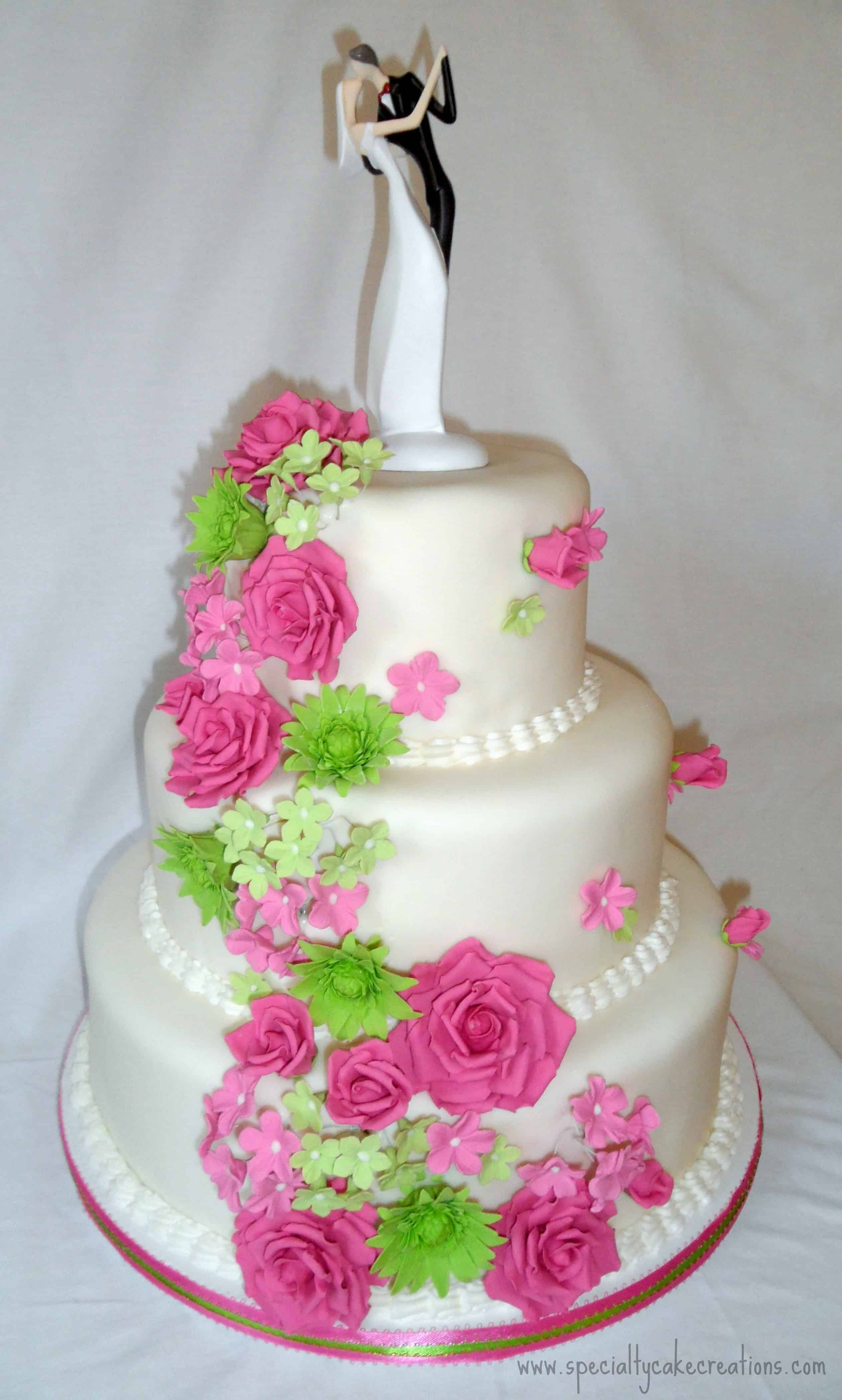 Pink And Green Wedding Cakes  Hot Pink and Lime Green Cascading Flowers Wedding Cake