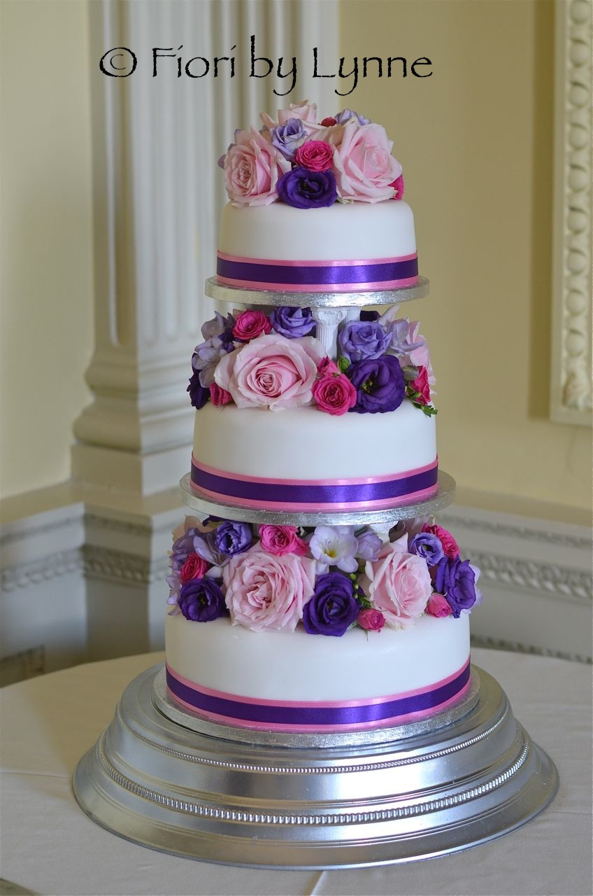 Pink And Purple Wedding Cakes  Wedding Flowers Blog Pippa s Bright and Beautiful Wedding