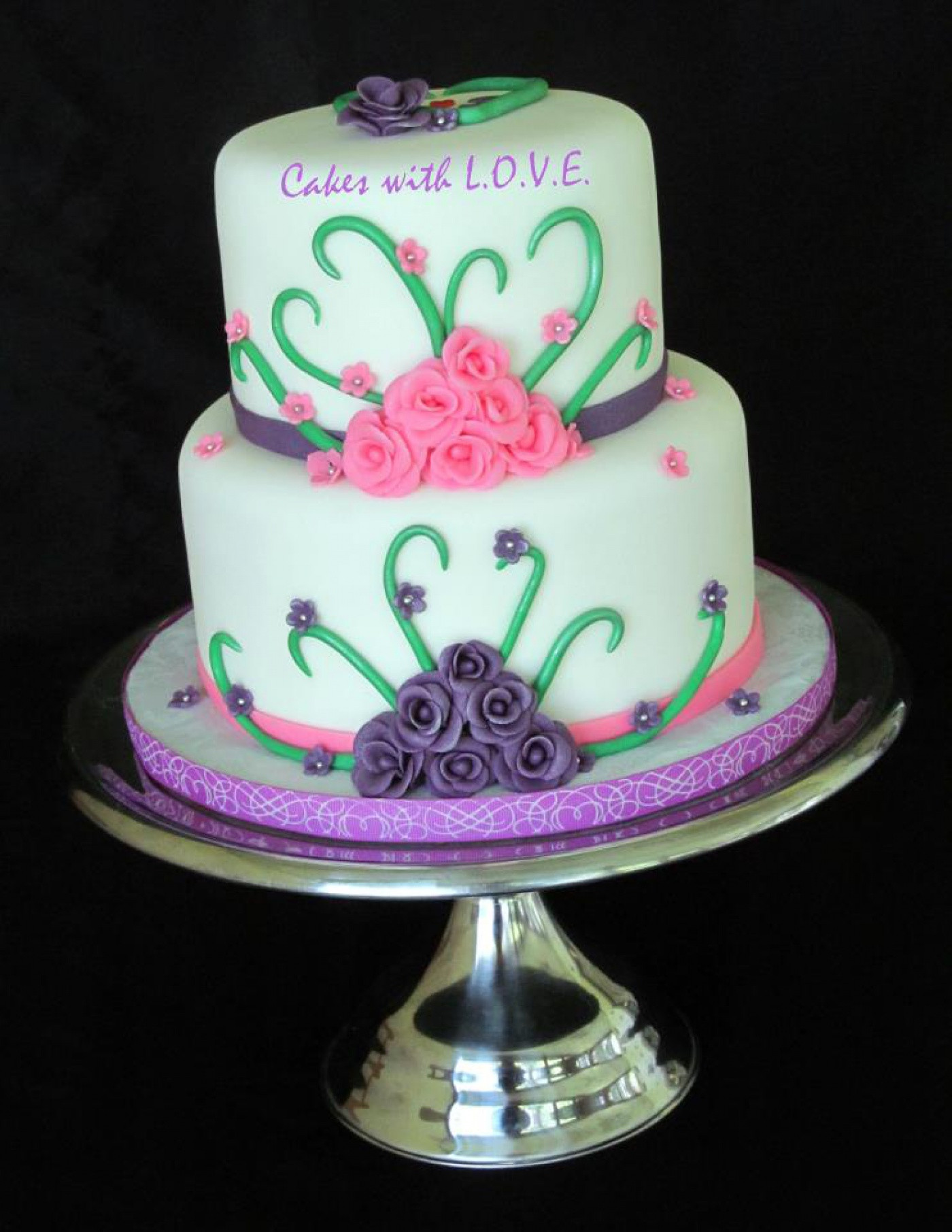 Pink And Purple Wedding Cakes  Pink and purple wedding cake idea in 2017