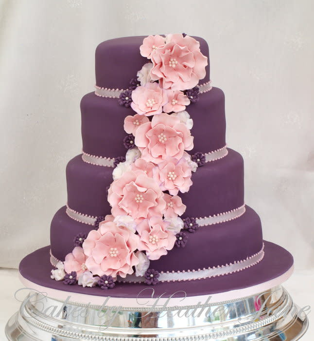 Pink And Purple Wedding Cakes  Purple & Pink ruffle Rose and Sweet pea Wedding cake
