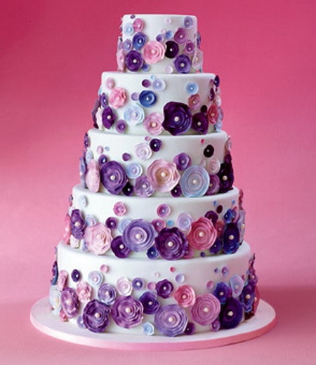 Pink And Purple Wedding Cakes  Five Tier White Cake with Pink and Purple Flowers