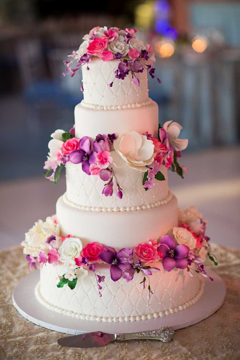 Pink And Purple Wedding Cakes  Cakes & Desserts s Pink & Purple Sugar Flower Cake