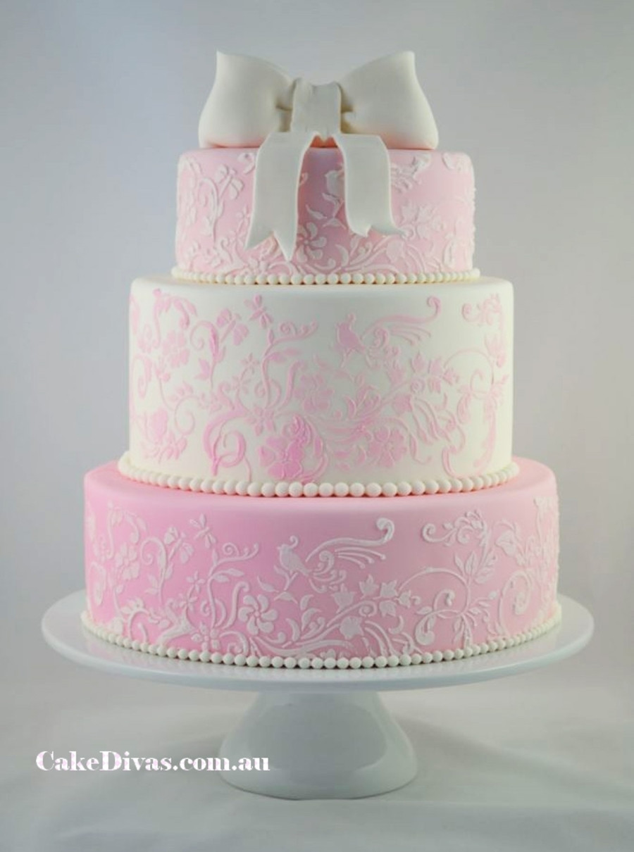Pink And White Wedding Cakes  Romantic Pink And White Wedding Cake CakeCentral