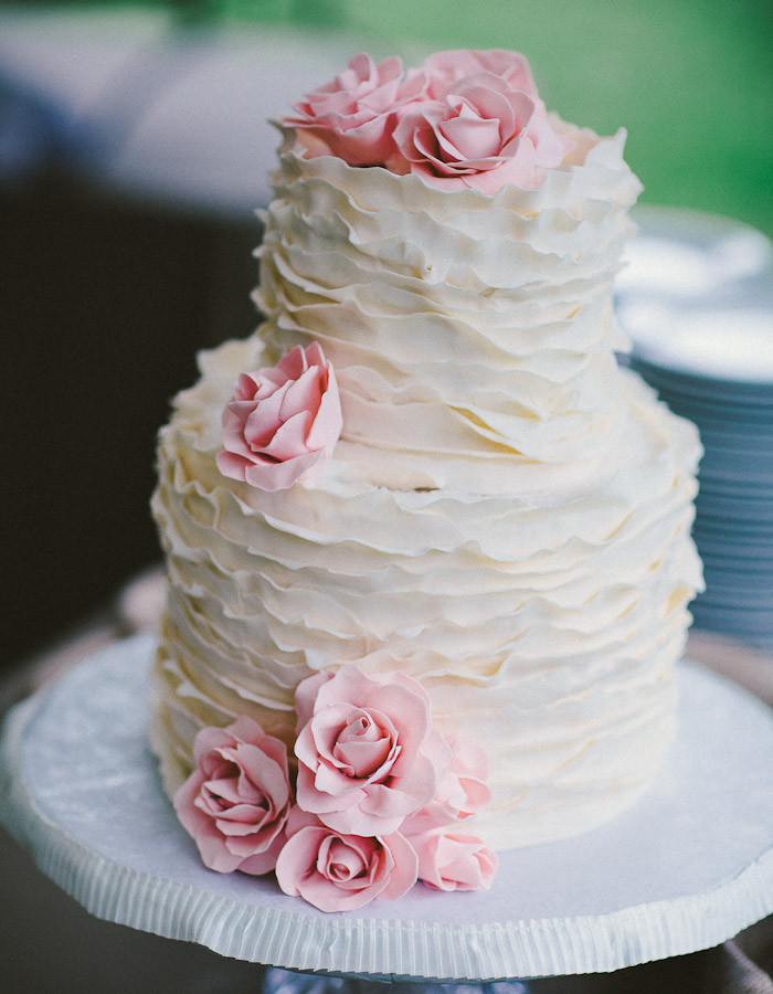 Pink And White Wedding Cakes  Ida and Clay s Cashiers North Carolina Wedding shot by