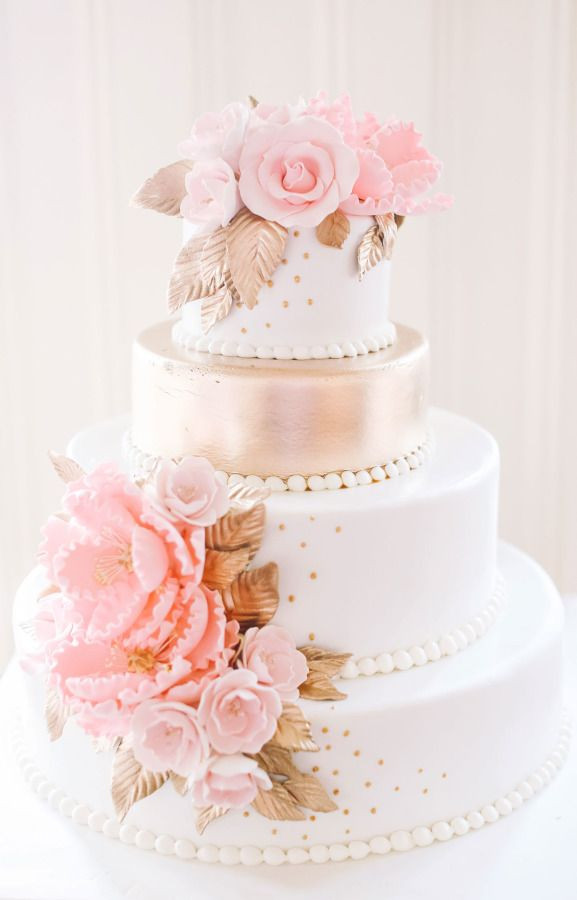 Pink And White Wedding Cakes  40 Romantic Pink and Gold Wedding Color Scheme Ideas