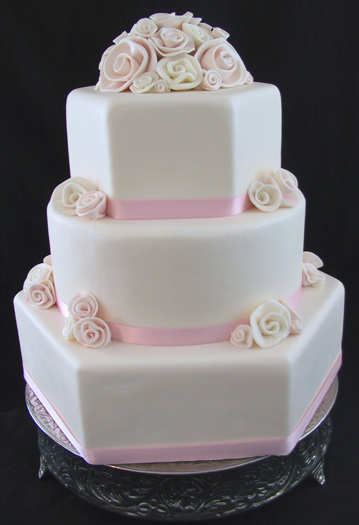 Pink And White Wedding Cakes  Fondant Wedding Cake Pink White Rolled Roses Lexington KY