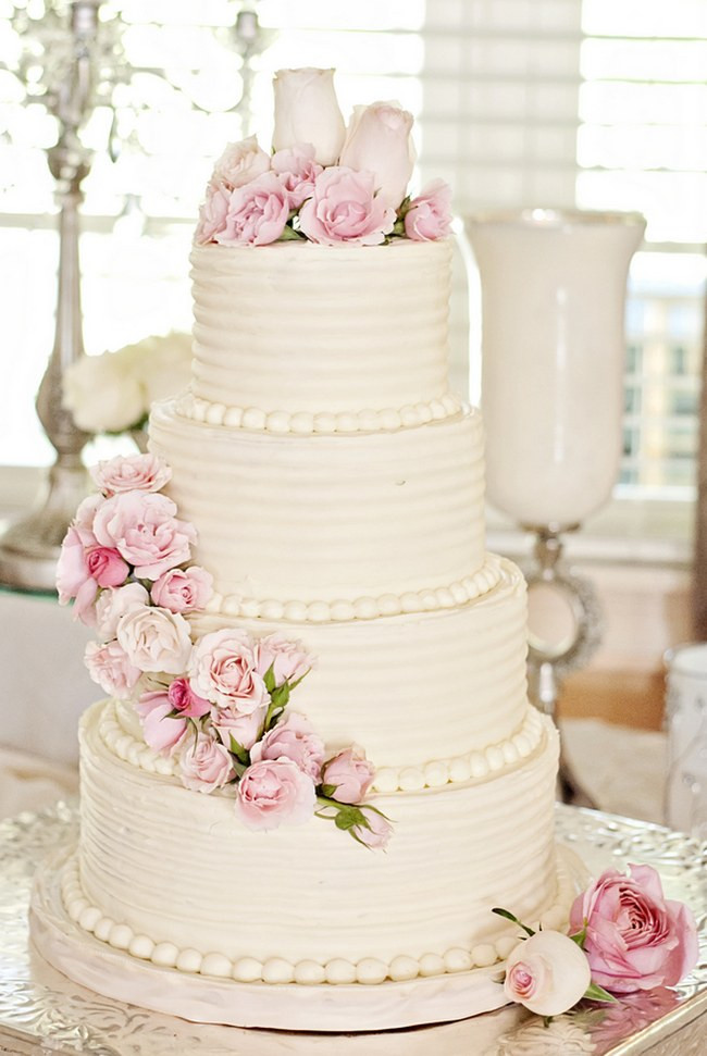 Pink And White Wedding Cakes  25 Amazing All White Wedding Cakes