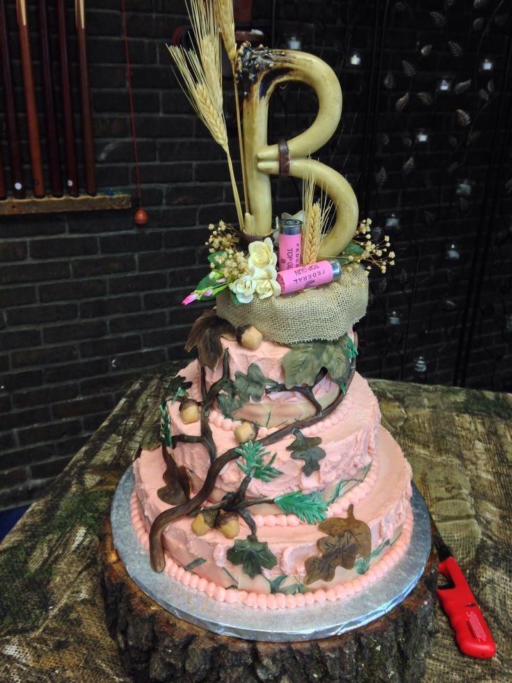 "Pink Camouflage Wedding Cakes  Pink ""real tree"" camo wedding cake"