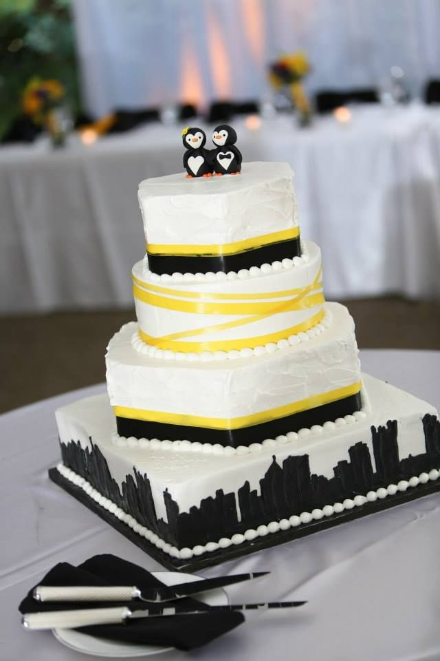 Pittsburgh Wedding Cakes  Penguin cake toppers Pittsburgh skyline and Penguin cakes