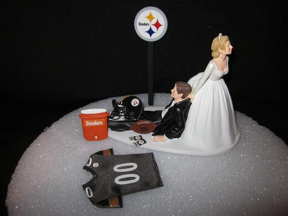 Pittsburgh Wedding Cakes  Pittsburgh Steelers Wedding Cake Topper Bride Groom Jersey