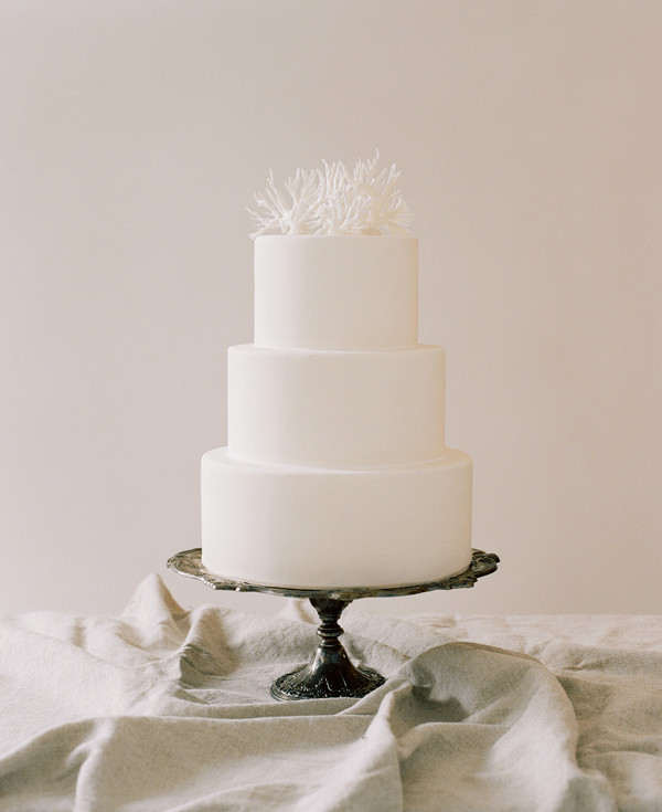 Plain White Wedding Cake  Simple Wedding Cakes Coral Cake Topper ce Wed