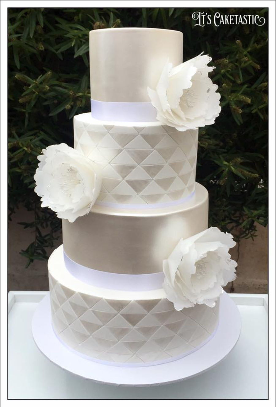 Plain White Wedding Cake  Geometric White White Wedding Cake CakeCentral