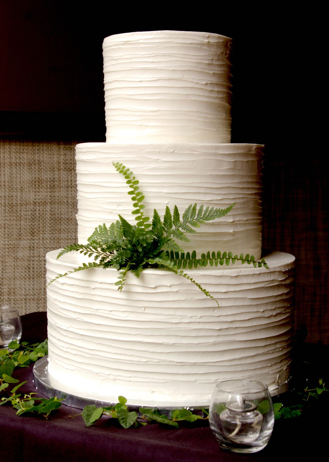 Plain White Wedding Cake  These Peas are Hollow Buttercream Beauties