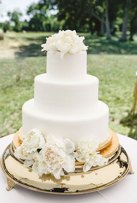 Plain White Wedding Cake  Brides Simple Three Tiered White Cake with Flowers A