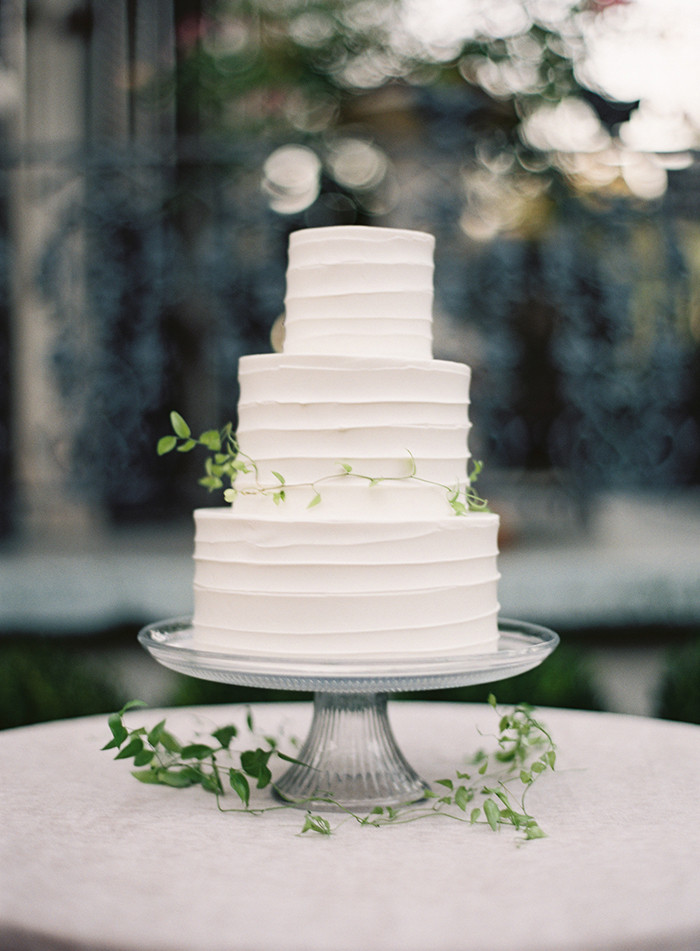 Plain White Wedding Cake  Secret Garden Inspired Wedding