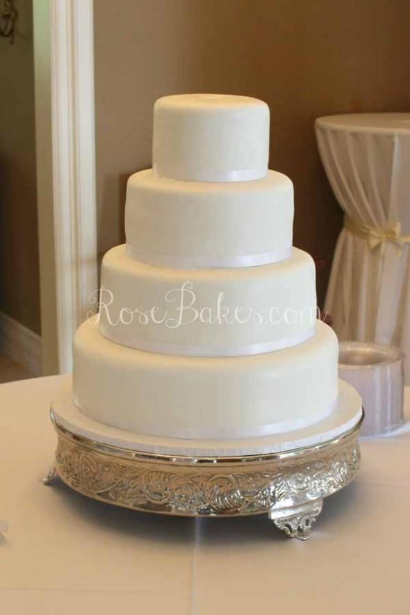 Plain White Wedding Cakes  White Wedding Cake with Cascading Fresh Flowers Rose Bakes