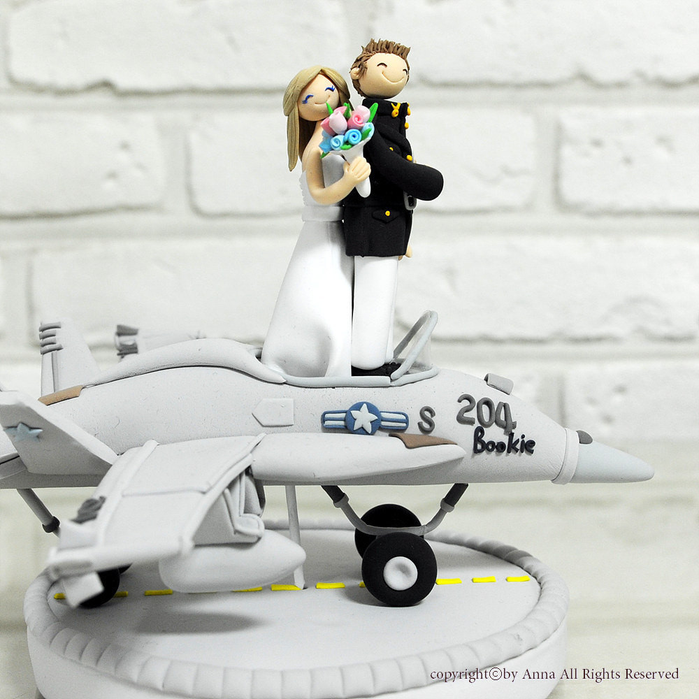 Plane Wedding Cakes  Fighter plane pilot wedding cake topper decoration t