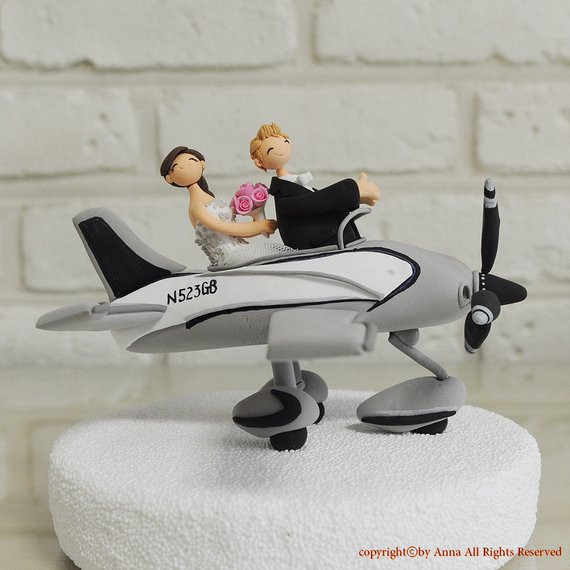 Plane Wedding Cakes  Items similar to Airplane pilot theme custom wedding cake