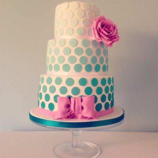 Polka Dots Wedding Cakes  Ombré Jade Polka Dot Wedding Cake Cake by Samantha