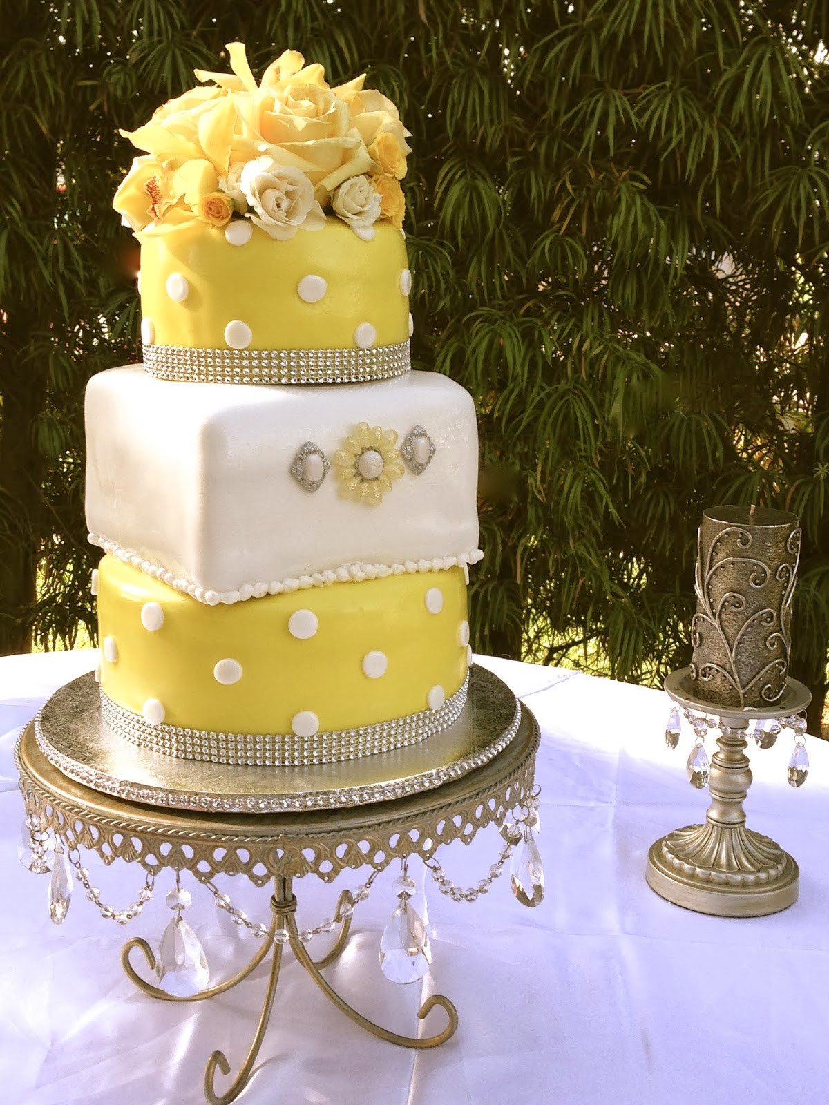 Polka Dots Wedding Cakes  Plumeria Cake Studio Yellow Polka Dot Wedding Cake and Treats