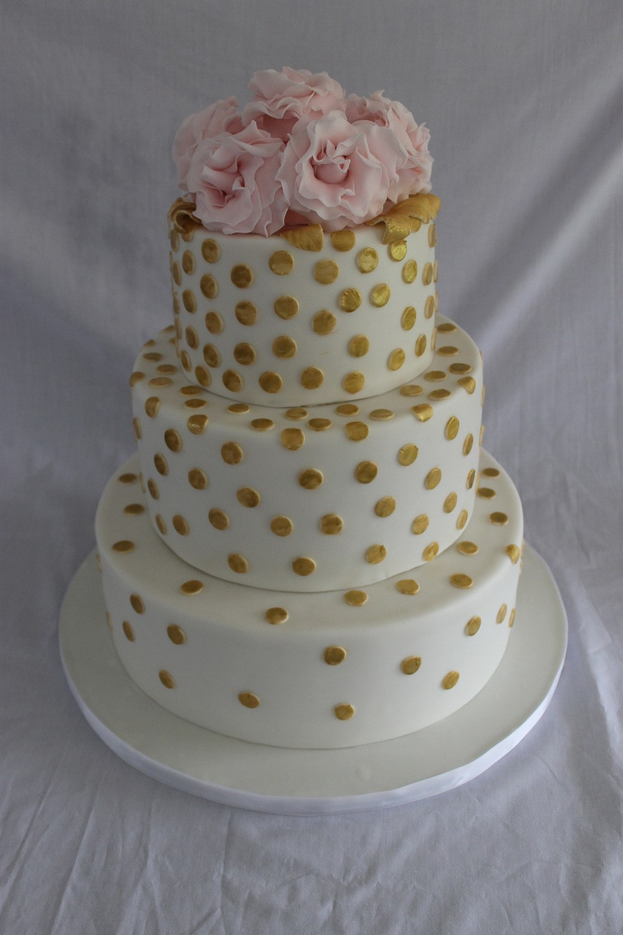 Polka Dotted Wedding Cakes  Gold Polka Dot Wedding Cake CakeCentral