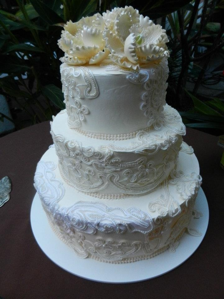 Portos Bakery Wedding Cakes  This was the finished product of our wedding cake Lace
