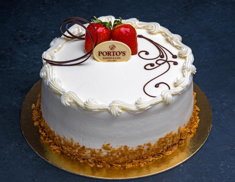 """Portos Wedding Cakes Prices  Strawberry Bavarian Mousse 9"""" Porto s Bakery"""