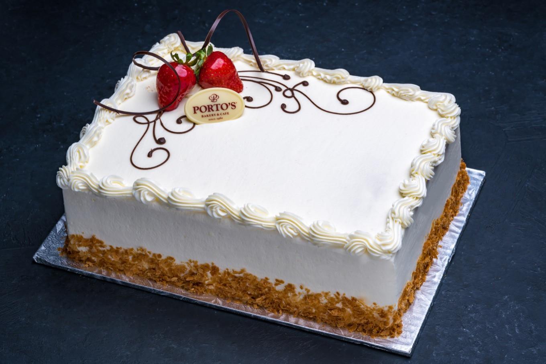 Portos Wedding Cakes Prices  Strawberry Shortcake Cake 1 2 Sheet Porto s Bakery