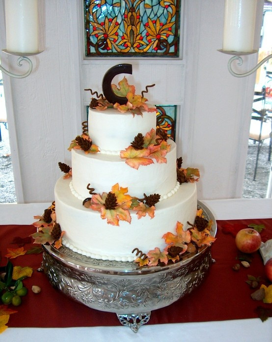 "Pound Cake Wedding Cake  Autumn wedding cake with a chocolate ""C "" Leaves and other"