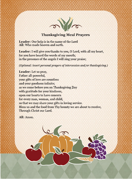 Prayer For Easter Dinner  Thanksgiving Day Meal Prayers — Family in Feast and Feria