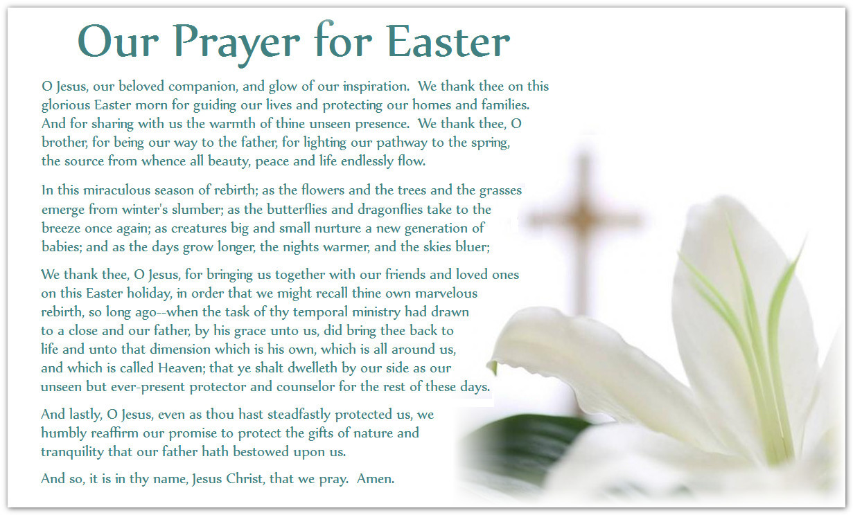 Prayer for Easter Sunday Dinner the Best Ideas for Easter Prayer Quotes Quotesgram