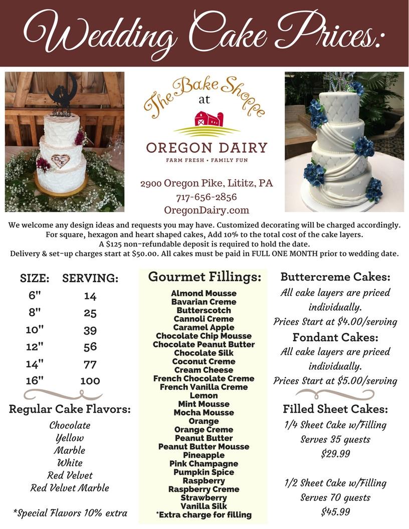 Pricing Of Wedding Cakes  Wedding Cakes The Bake Shoppe