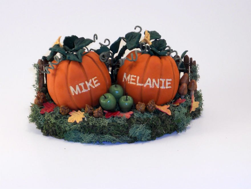 Pumpkin Wedding Cake Toppers  Custom Medium Pumpkins Wedding Cake Topper Decoration or