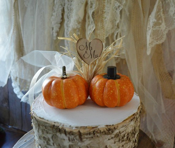 Pumpkin Wedding Cake Toppers  Fall wedding cake topper mini pumpkin topper bride groom