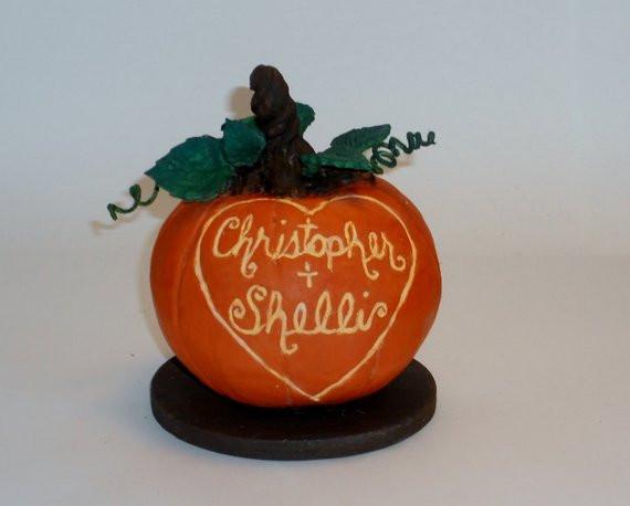 Pumpkin Wedding Cake Toppers  Pumpkin Wedding Cake Topper Sculpture by SweetPixiePie
