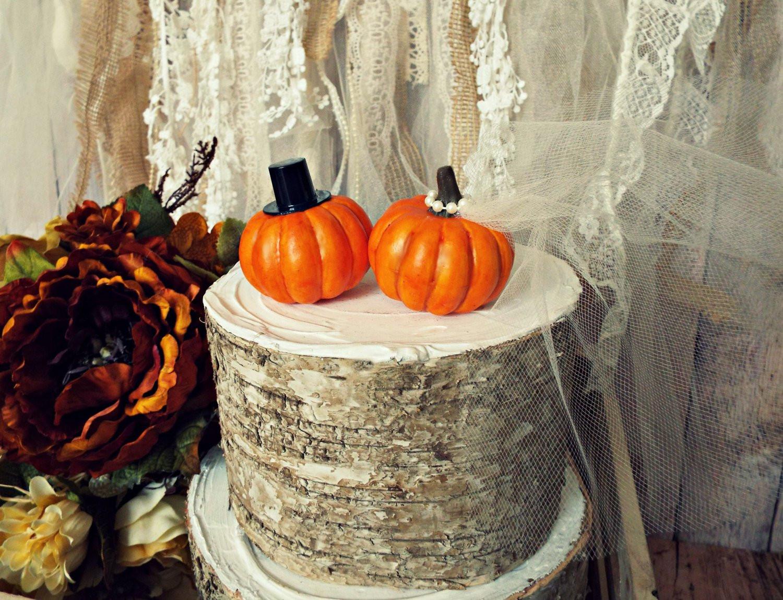 Pumpkin Wedding Cake Toppers  Pumpkin fall wedding cake topper fall themed wedding bride and