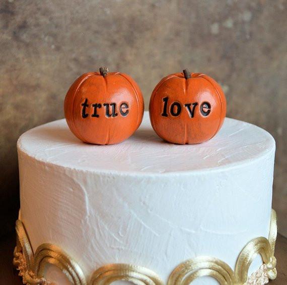 Pumpkin Wedding Cake Toppers  Pumpkin wedding cake topper orange true love pumpkins