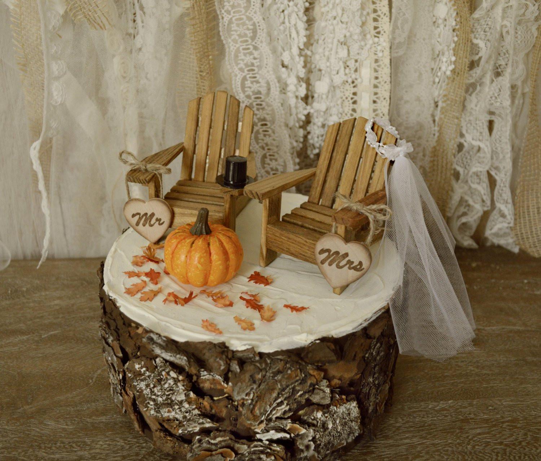 Pumpkin Wedding Cake Toppers  fall pumpkin wedding cake topper bride and groom autumn themed