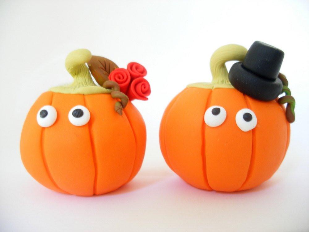 Pumpkin Wedding Cake Toppers  Fall wedding cake topper pumpkin bride and groom Halloween