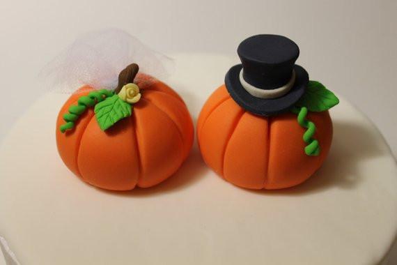 Pumpkin Wedding Cake Toppers  Fondant Pumpkin Wedding Cake Toppers 2 pack