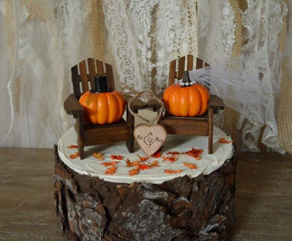 Pumpkin Wedding Cake Toppers  Pumpkin fall autumn wedding cake topper themed Thanksgiving