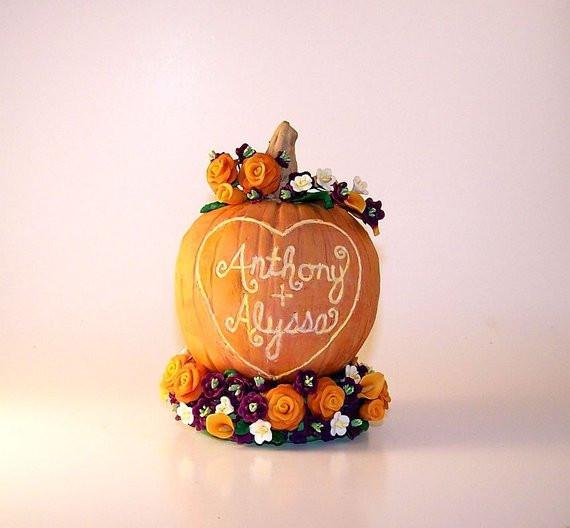 Pumpkin Wedding Cake Toppers  Pumpkin Wedding Cake Topper Sculpture Keepsake Fancy