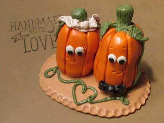 Pumpkin Wedding Cake Toppers  Pumpkin Bride & Groom Wedding Cake Topper Pumpkin Wedding