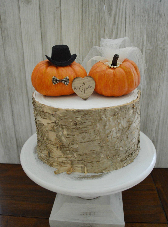 Pumpkin Wedding Cake Toppers  Pumpkin wedding cake topper fall weddings miniature pumpkin