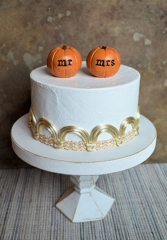 Pumpkin Wedding Cake Toppers  Wedding cake topper orange mr mrs pumpkins fall and by